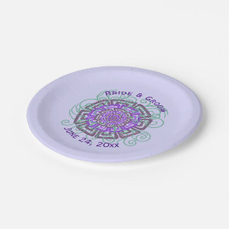 Purple Flower Rustic Abstract Floral Wedding 7 Inch Paper Plate