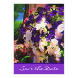 "Purple Flower Save the Date Card 5"" X 7"" Invitation Card"