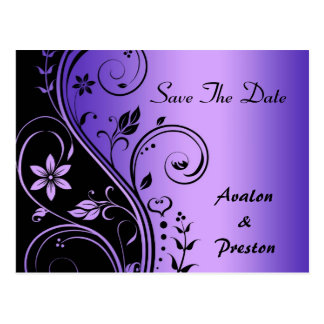 Purple Flower Scrollwork Save The Date Card