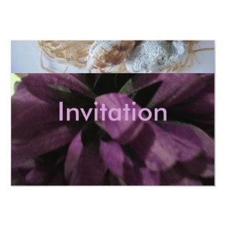 Purple Flower, sea shells and sea stone 13 Cm X 18 Cm Invitation Card
