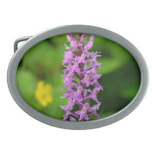 Purple flower spotted orchid protected species belt buckles