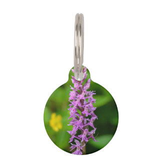 Purple flower spotted orchid protected species pet ID tag