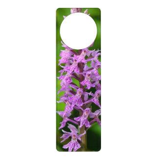 Purple flower spotted orchid protected species door knob hanger