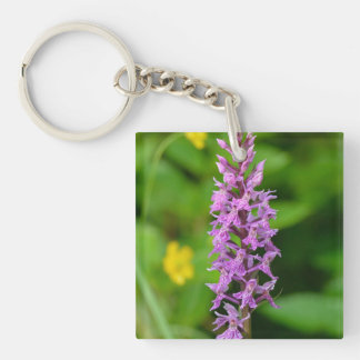 Purple flower spotted orchid protected species keychain