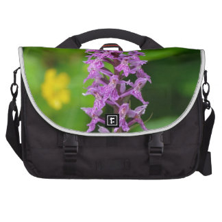 Purple flower spotted orchid protected species laptop messenger bag