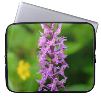 Purple flower spotted orchid protected species laptop computer sleeve