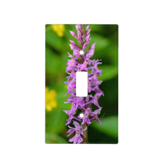 Purple flower spotted orchid protected species light switch plates