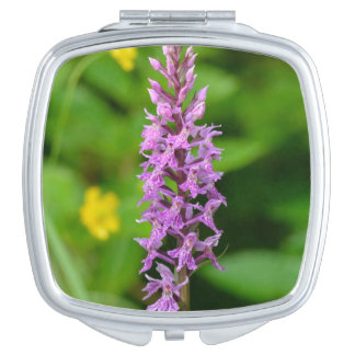 Purple flower spotted orchid protected species compact mirrors