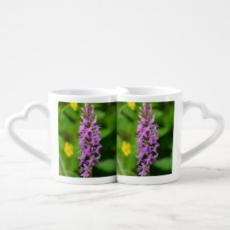Purple flower spotted orchid protected species lovers mug set