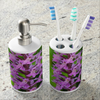 Purple flower spotted orchid protected species soap dispensers