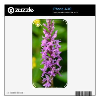 Purple flower spotted orchid protected species skin for iPhone 4S