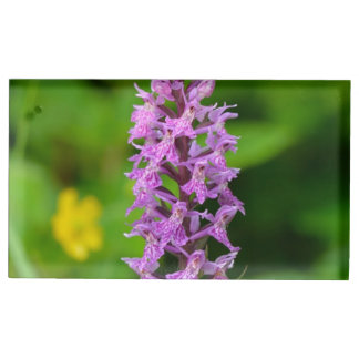 Purple flower spotted orchid protected species table card holder