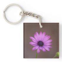Purple flower square key chain