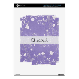 Purple Flower Swirls Stitched Vellum iPad 3 Skins
