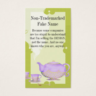 Purple flower teapot and teacups business cards