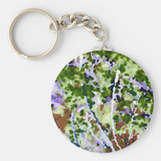 purple flower tree against sky  abstract invert basic round button keychain