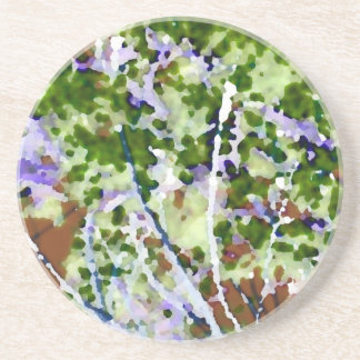 purple flower tree against sky  abstract invert beverage coaster