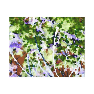 purple flower tree against sky  abstract invert canvas print