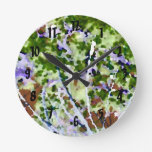 purple flower tree against sky  abstract invert round wallclocks