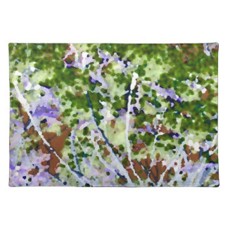 purple flower tree against sky  abstract invert cloth place mat