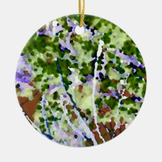 purple flower tree against sky  abstract invert Double-Sided ceramic round christmas ornament