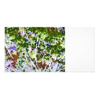 purple flower tree against sky  abstract invert photo card