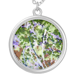 purple flower tree against sky  abstract invert round pendant necklace