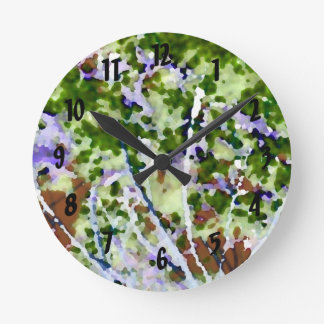 purple flower tree against sky  abstract invert round wall clock