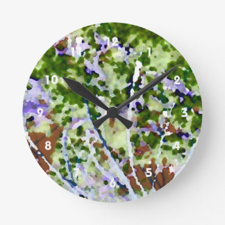 purple flower tree against sky  abstract invert round wall clocks