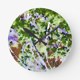 purple flower tree against sky  abstract invert round wallclock