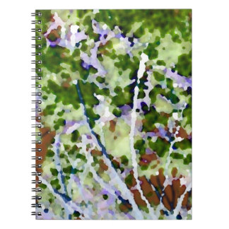 purple flower tree against sky  abstract invert spiral note book