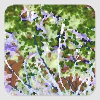 purple flower tree against sky  abstract invert square sticker