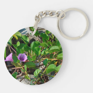 purple flower vines on rocks in florida Double-Sided round acrylic keychain
