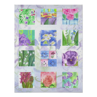 Purple Flower Watercolor Collage Art Pansy Roses Posters