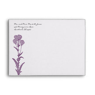 Purple Flower  Wedding Envelopes