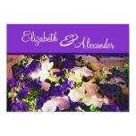 "Purple Flower Wedding Invitations 5"" X 7"" Invitation Card"