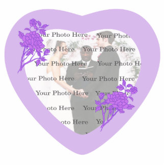 Purple Flower Wedding Photo Frame Statuette