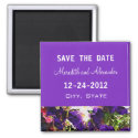 Purple Flower Wedding Save the Date Magnet magnet