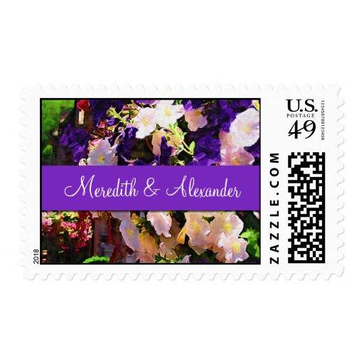 Purple Flower Wedding Stamps