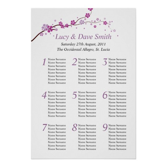 Purple Flower Wedding Table Seating Plan Poster