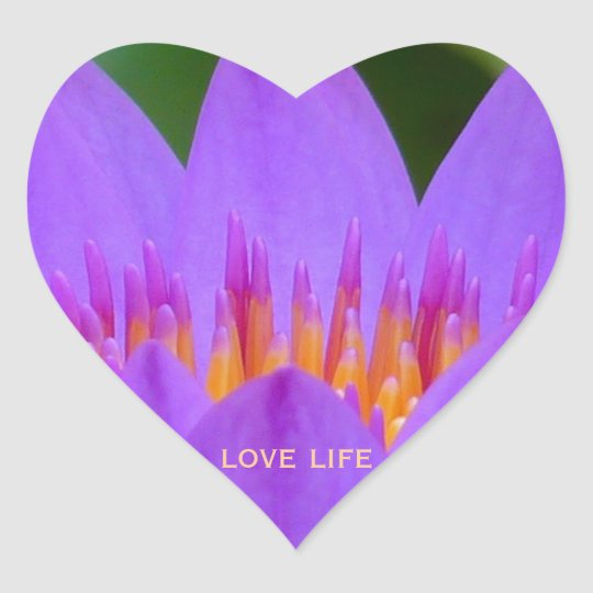 Purple Flower with Life Quote Heart Sticker