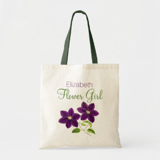 Purple Flower with Name Flower Girl Tote Bag