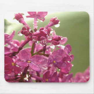 Purple Flower with Raindrops Mouse Pad