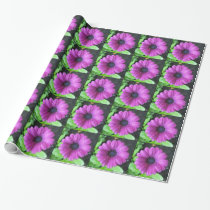 Purple flower wrapping paper