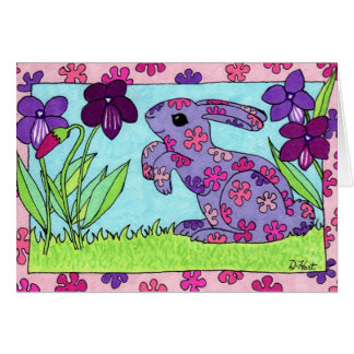 Purple Flowered Bunny Card