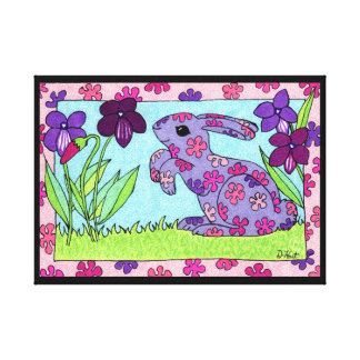 Purple Flowered Bunny with Violets Canvas Print