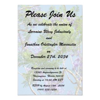 """purple flowered jacaranda tree against blue sky 5"""" x 7"""" invitation card"""