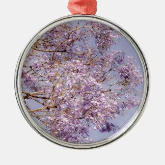 Purple Flowering Branches Metal Ornament