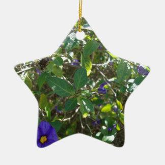 Purple Flowering Bush Christmas Ornaments