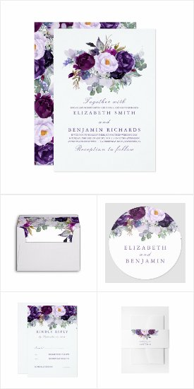 Purple Flowers Coordinating Wedding Invitation Set to Mix and Match